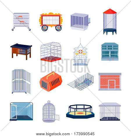 Set of sixteen isolated empty animal cage fighting ring and prison retro images with metal bar vector illustration