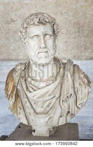 ATHENS, GREECE, SEPTEMBER 7, 2016: Bust of the Roman emperor Antoninus Pius Inside Stoa Of Attalos, Athens, Greece