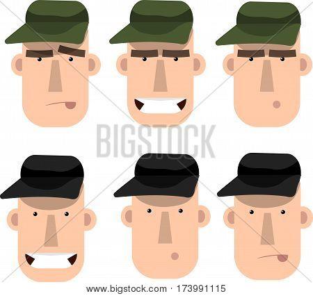 Emotion set of cartoon character mechanic hunter man