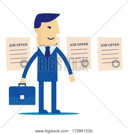 Manager job offers chooses. Job offers vector. Chooses job offers