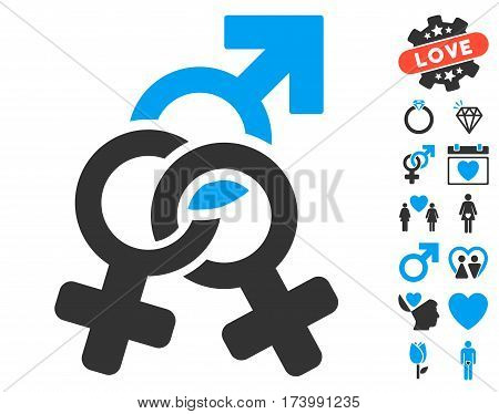 Double Mistress pictograph with bonus decorative images. Vector illustration style is flat iconic blue and gray symbols on white background.