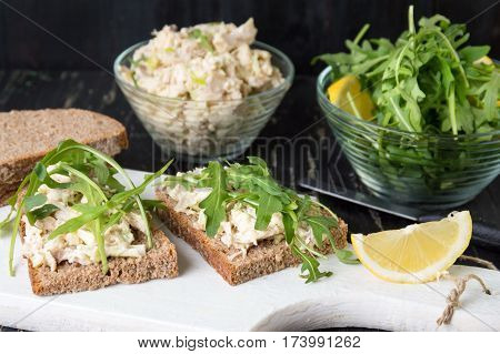 Chicken Salad And Arugula Sandwiches