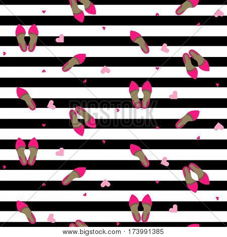 Chic girl fashion seamless pattern. Stylish pump shoes vector repeat black and white stripe background.