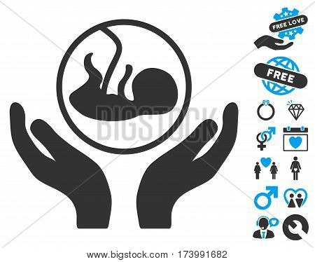 Embryo Care Hands pictograph with bonus decoration images. Vector illustration style is flat iconic blue and gray symbols on white background.