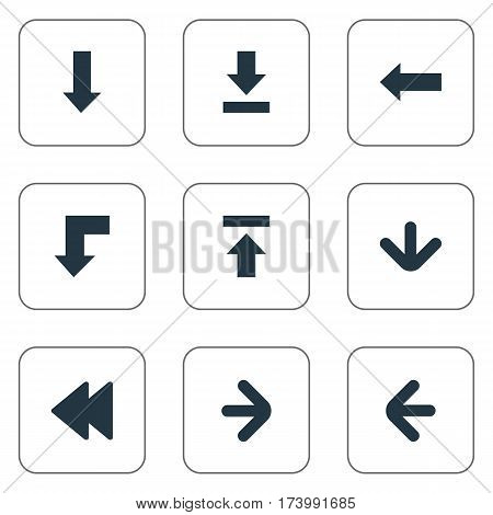 Set Of 9 Simple Cursor Icons. Can Be Found Such Elements As Downwards Pointing, Rearward, Right Direction And Other.