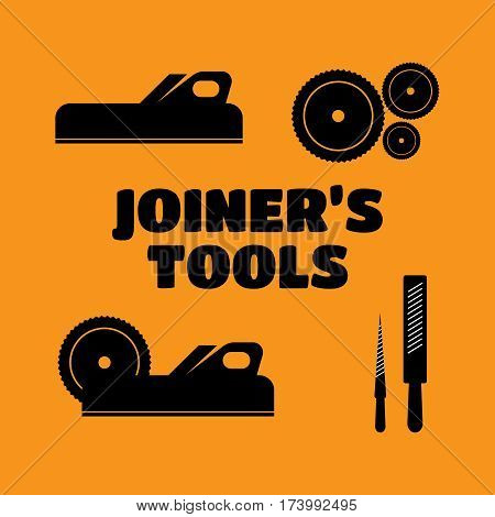 A set of logos emblems of joiner's tools vector. Joiner tools vector