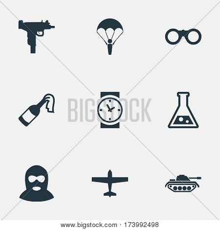 Set Of 9 Simple Army Icons. Can Be Found Such Elements As Molotov, Chemistry, Field Glasses And Other.