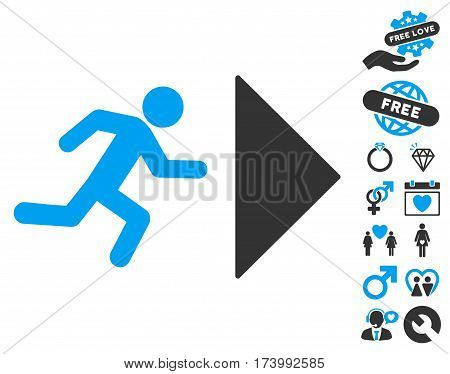 Exit Direction icon with bonus lovely graphic icons. Vector illustration style is flat iconic blue and gray symbols on white background.