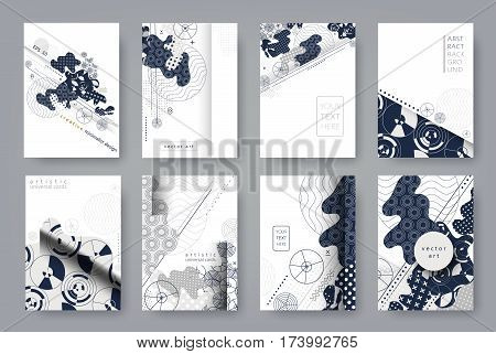 Set of templates A4 pages. Abstract monochrome geometric background. Trendy compositions for business, technology and advertising. Modern style design. Vector illustration