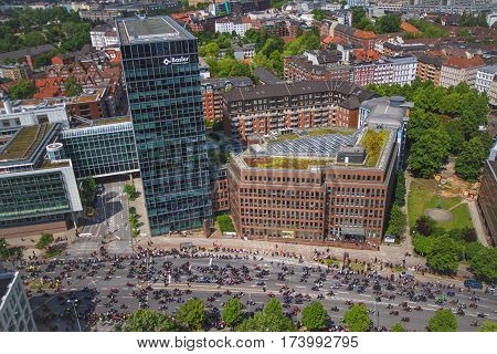 HAMBURG GERMANY - JUNE 10: Overlook from Tower during the arrival of bikers to the old town part of Hamburg Germany in 2012