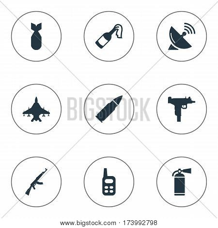 Set Of 9 Simple Military Icons. Can Be Found Such Elements As Nuke, Sky Force, Extinguisher And Other.