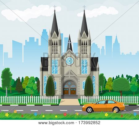 Exterior of catholic or protestant church cathedral in gothic style with city skylines, road, car and trees behind. Urban chapel. Tower with cross. Vector illustration in flat style