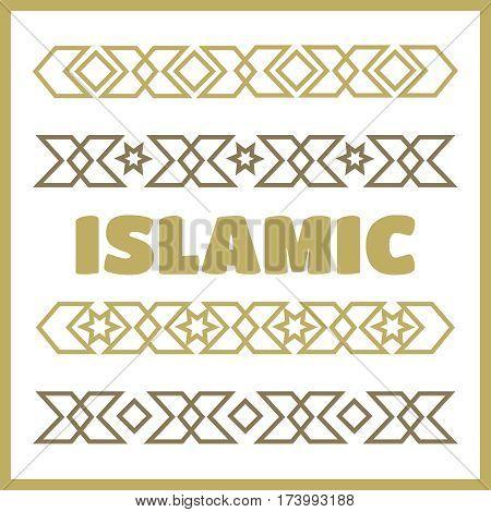 Islamic ornamental borders. Islamic vector background set