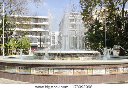 MARBELLA, SPAIN - FEBRUARY 27, 2017: Fountain in the Alameda Park in the city of Marbella Andalusia spain
