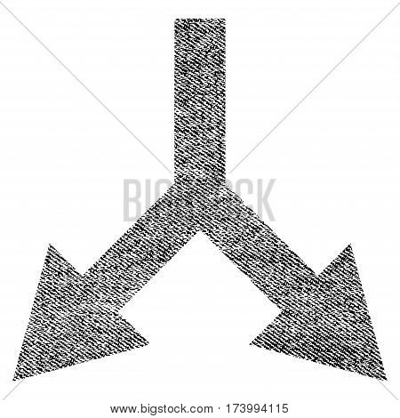 Bifurcation Arrow Down vector textured icon for overlay watermark stamps. Black jeans fabric vectorized texture. Symbol with dust design. Black ink rubber seal stamp with fiber textile structure.