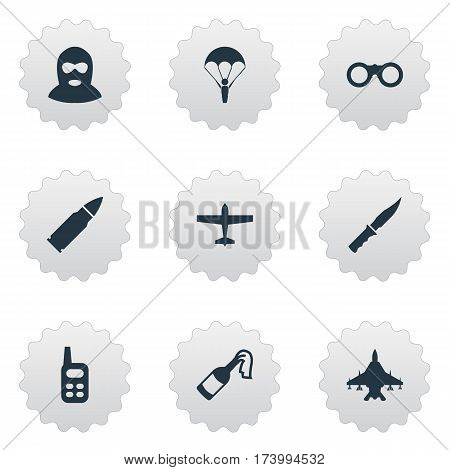 Set Of 9 Simple Military Icons. Can Be Found Such Elements As Field Glasses, Molotov, Air Bomber And Other.