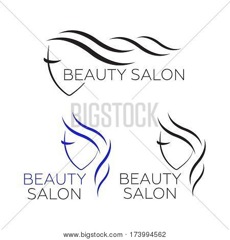 Beautiful woman logo template for hair salon beauty salon cosmetic
