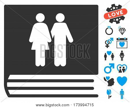 Family Album icon with bonus decorative pictograph collection. Vector illustration style is flat iconic blue and gray symbols on white background.