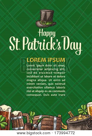Vertical poster for Saint Patrick s Day. Top gentleman hat, pot, smoking pipe, beer glass, lyre, horseshoe, clover, barrel. Vector vintage color engraved illustration on green tartan ornate background
