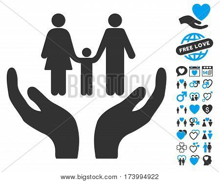Family Care Hands icon with bonus amour graphic icons. Vector illustration style is flat iconic blue and gray symbols on white background.