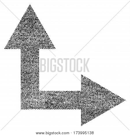 Bifurcation Arrow Right Up vector textured icon for overlay watermark stamps. Black jeans fabric vectorized texture. Symbol with unclean design.
