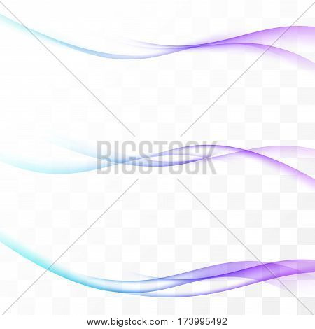 Futuristic bright speed swoosh wave lines minimalistic transparent fresh streaks. Vector illustration