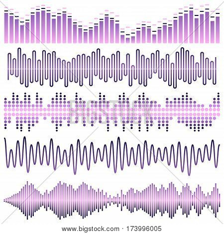 Vector set of violet sound waves. Audio equalizer. Sound & audio waves isolated on white background.