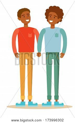 Gay couple with hand in hand. Cartoon character illustration of young men. Isolated on white background. Stock vector illustration for poster, greeting card, website, ad.