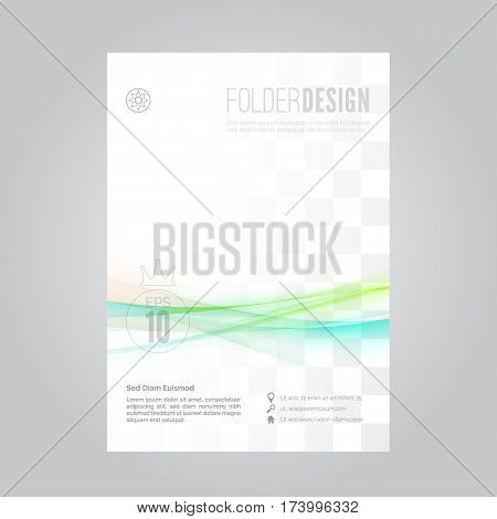 Bright swoosh fusion wave business folder modern layout with space and background for your snapshot and text. Vector illustration