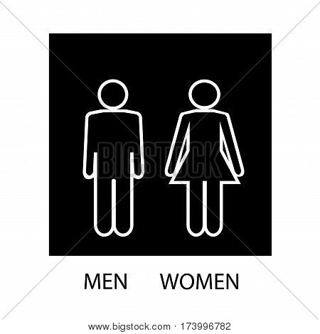 White silhouette men and women icon in black square. Sign restroom women and men. Icon public toilette and bathroom for hygiene. Template for postersign. Flat vector image. Vector illustration