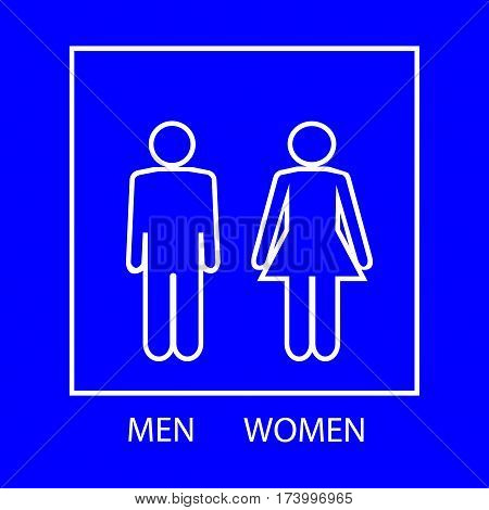 White silhouette men and women icon on blue background. Sign restroom women and men. Icon public toilette and bathroom for hygiene. Template for postersign. Flat vector image. Vector illustration