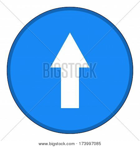 Arrow white in blue circle sign. Isolated on white background. Pointer do forward icon. Arrow direction symbol picture. Flat image. Vector illustration.