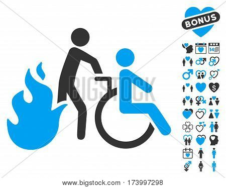 Fire Patient Evacuation pictograph with bonus dating symbols. Vector illustration style is flat iconic blue and gray symbols on white background.