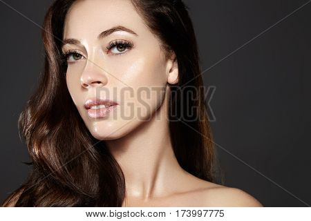 Beautiful Young Woman Model With Flying Brown Color Hair. . Make Up, Curly Hairstyle. Haircare, Make