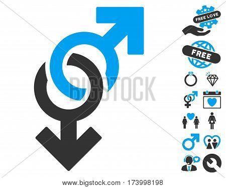Gay Symbol icon with bonus valentine symbols. Vector illustration style is flat iconic blue and gray symbols on white background.