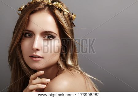 Beautiful Young Woman Model With Flying Light Hair. Beauty Clean Skin, Fashion Makeup. Hairstyle, Ha