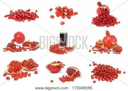 Set of pomegranates isolated on a white cutout.