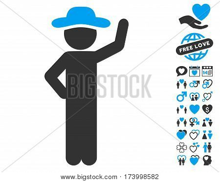 Gentleman Assurance pictograph with bonus love pictures. Vector illustration style is flat iconic blue and gray symbols on white background.