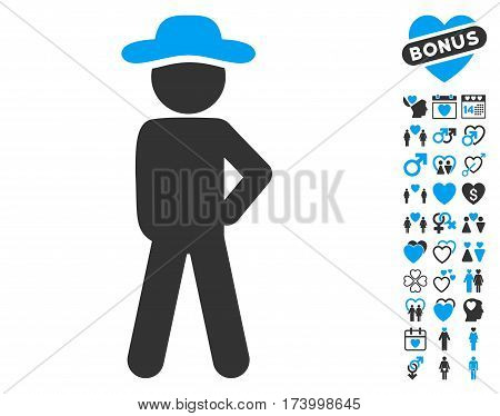 Gentleman Audacity pictograph with bonus dating clip art. Vector illustration style is flat iconic blue and gray symbols on white background.