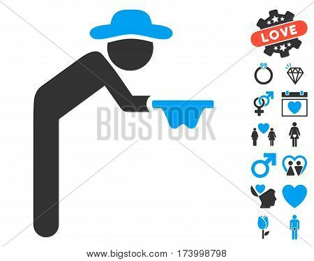 Gentleman Beggar icon with bonus amour pictures. Vector illustration style is flat iconic blue and gray symbols on white background.