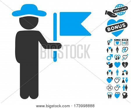 Gentleman Commander icon with bonus dating design elements. Vector illustration style is flat iconic blue and gray symbols on white background.