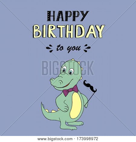 Happy Birthday lettering, vector illustration with baby dino. Good for header, invitation, banner, greeting card, baby shower