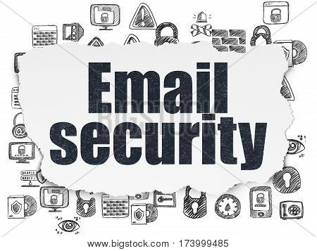 Security concept: Painted black text Email Security on Torn Paper background with  Hand Drawn Security Icons