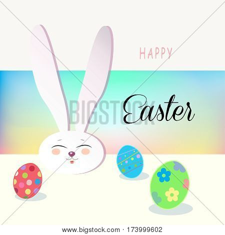 Happy Easter Holiday, Easter Rabbit and Easter eggs, ribbon, Easter Bunny. Greeting card background. Cute Rabbit Flat. Poster. Frame Vector Illustration