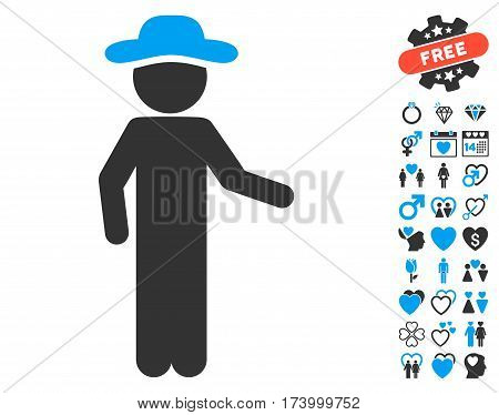 Gentleman Invitation pictograph with bonus valentine pictograms. Vector illustration style is flat iconic blue and gray symbols on white background.