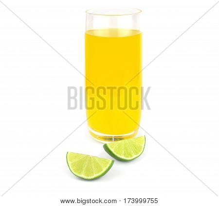 lime and glass of juice isolated on white background
