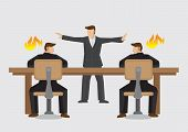 Mediator trying to resolve businessmen deadlocked in acrimonious debate. Vector illustration on business mediator or dispute resolution concept isolated on plain background. poster