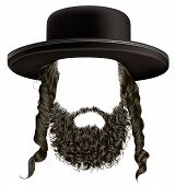 black  hair sidelocks with beard . mask wig jew hassid in hat . poster