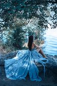 Fashion Art Photo. Sexy attractive Woman with naked breast and back in blue dress sitting on rocky beach against watery and trees background. One Alone Girl at Night. Beautiful creative shot of sensual seductive multi-racial Asian Caucasian female model l poster
