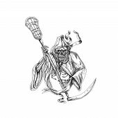 Tattoo style illustration of the grim reaper lacrosse player holding a crosse or lacrosse stick defense pole viewed from front on isolated background. poster